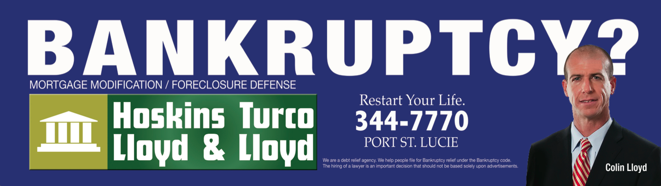 This easy-to-read billboard draws in viewership with its clear text, call to action tagline, and memorable color scheme. With its prime logo location, the billboard unifies The Law Firm of Hoskins Turco Lloyd & Lloyd's brand and further encourages viewer recognition.