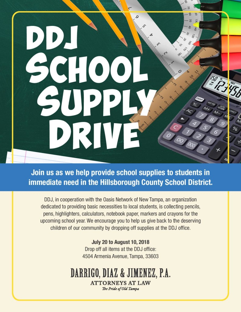 The Law Office Of Darrigo, Diaz U0026 Jimenez Launched A Back To School Supply  Drive